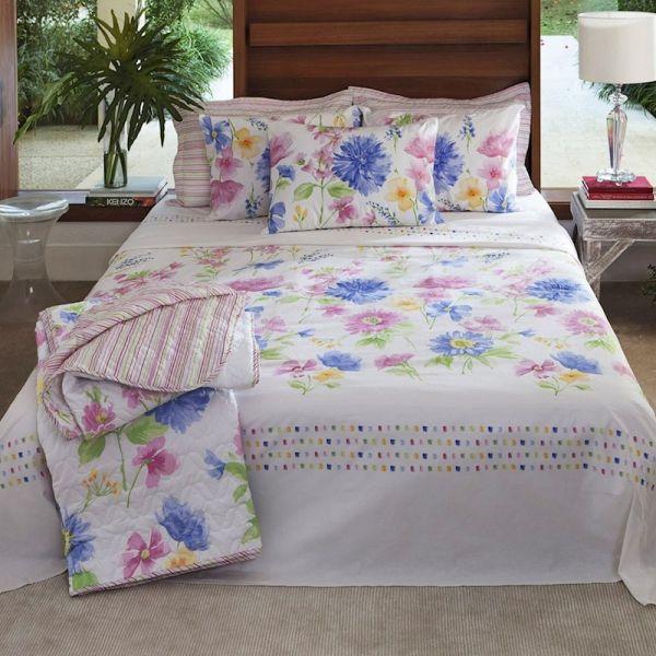 Jogo de cama queen size Home Desing 100% algodão Mila estampado floral - Santista