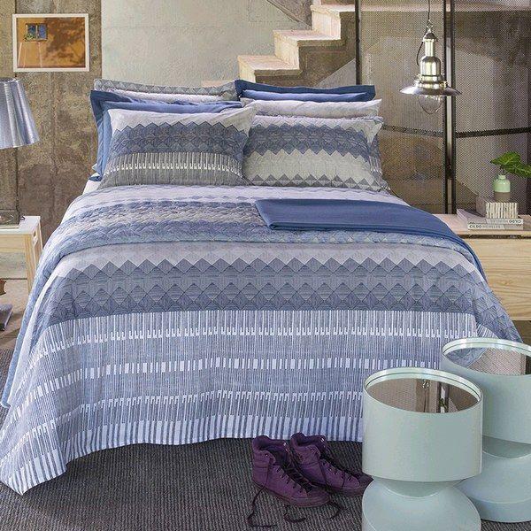 Jogo de cama queen size Home Desing 100% algodão Vitor estampado geométrico - Santista