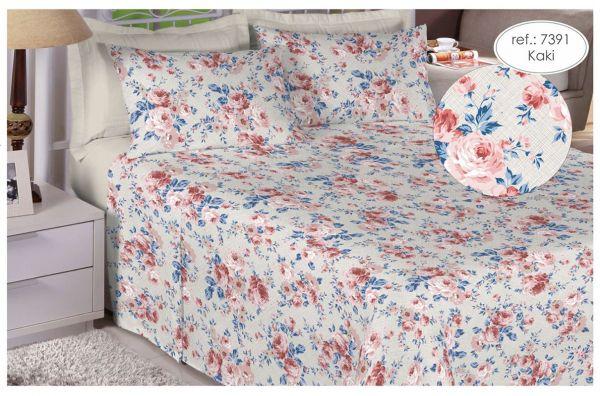 Jogo de cama queen size 150 fios 100% algodão estampado Kaki floral