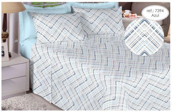 Jogo de cama Queen Size 180 fios 100% algodão Premium Linea estampado Linhas Pontilhadas Azul 7394