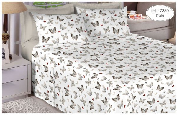 Jogo de cama queen size Percal 180 fios - 100% algodão Premium Linea - Kaki 7380