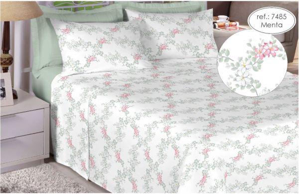 Jogo de cama queen size 200 fios 100% algodão - estampado menta 7485