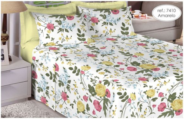 Jogo de cama de Queen Size Percal 200 fios 100% algodão estampado Amarelo com Flores 7410