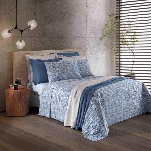 Jogo de cama queen Prata 150 Fios 100% algodão Cristal estampado azul - Santista
