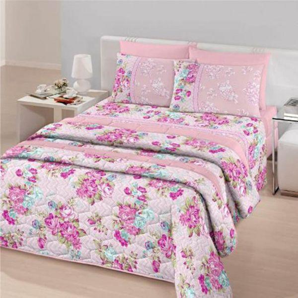 Jogo de cama queen Royal Ana 100% algodão estampado rosa - Santista
