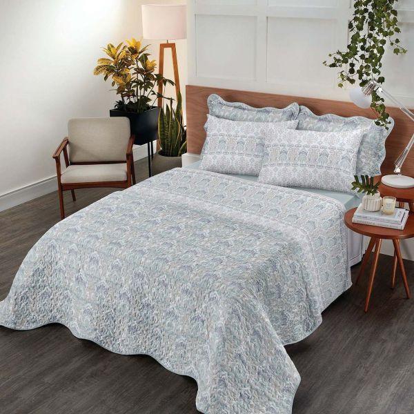 jogo de cama queen Royal Arabesque 100% algodão estampado azul - Santista