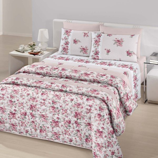 Jogo de cama queen size Royal Aymee 100% algodão estampado rosas - Santista