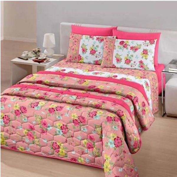 Jogo de cama queen size Royal Clara 100% algodão estampado - Santista