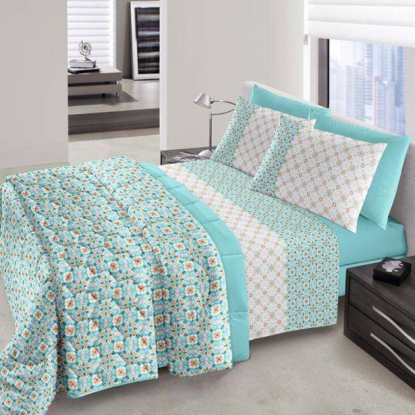 Jogo de cama queen size Royal Cloe 100% algodão estampado Turquesa - Santista