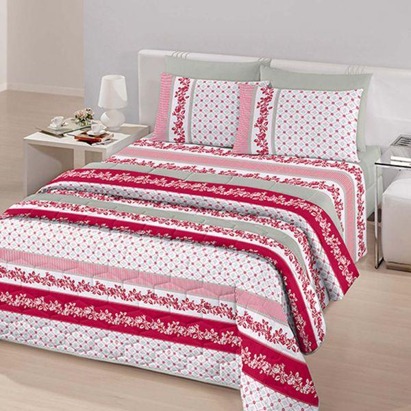 Jogo de cama queen size Royal England 1 100% algodão estampado floral vermelho - Santista
