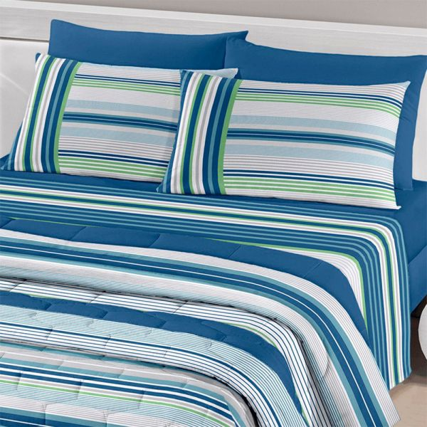 Jogo de cama queen size Royal Fabio 1 100% algodão estampado listrado azul