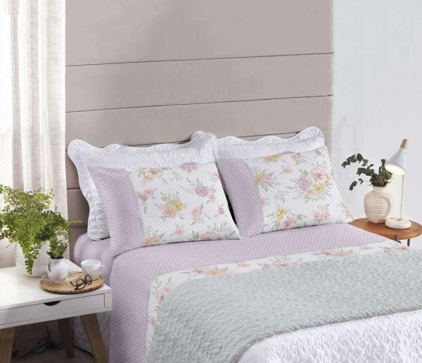 Jogo de cama queen size Royal Heloisa 1 100% algodão estampado Poá e Floral - Santista