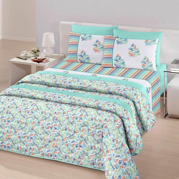 Jogo de cama queen size Royal Herbal 1 100% algodão estampado Folhagem - Santista