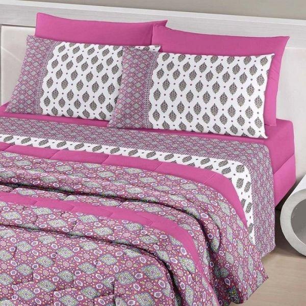 Jogo de cama queen size Royal Indie 100% algodão estampado Indiano rosa - Santista