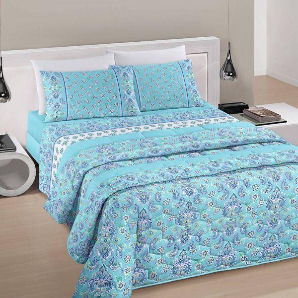 Jogo de cama queen size Royal Jaipur 100% algodão estampado floral verde água - Santista
