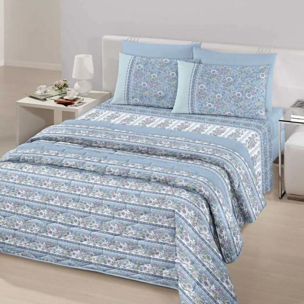 Jogo de cama queen size Royal Kaline 100% algodão estampado Azul Floral - Santista