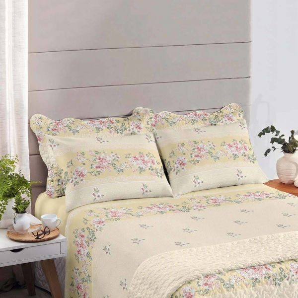 Jogo de cama queen size Royal Luara Amarelo 100% algodão estampado - Santista