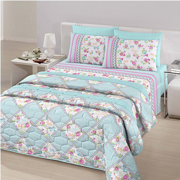 Jogo de cama queen size Royal Lucile 100% algodão estampado - Santista