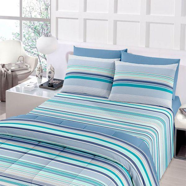 Jogo de cama queen size Royal Onam 100% algodão estampado Azul listrado - Santista