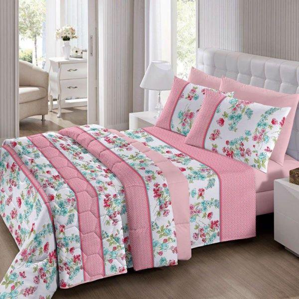 Jogo de cama queen size Royal Sissy 100% algodão estampado rosa - Santista