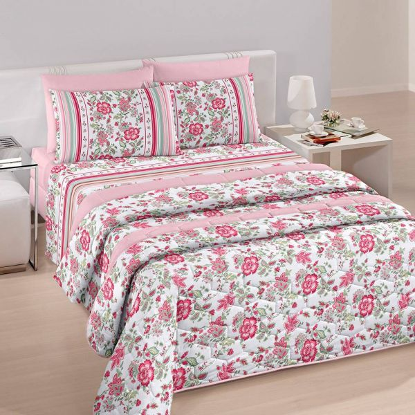 Jogo de cama queen size Royal Yara 100% algodão estampado rosa florido - Santista