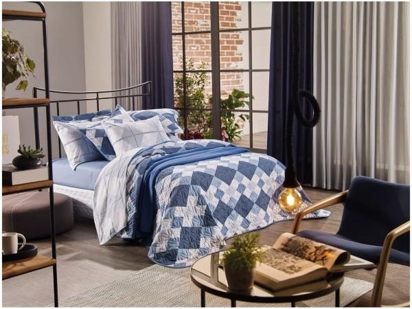 Jogo de cama queen unique 180 fios 100% algodão Macrame estampado azul - Santista