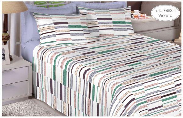 Jogo de cama de solteiro 100% algodão Premium Plus estampado Violeta com Listras 7453-1