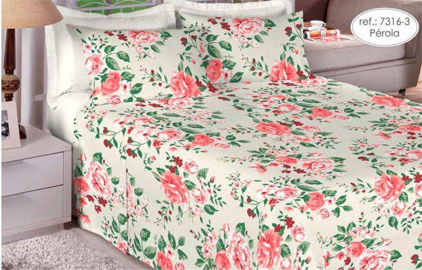 Jogo de cama solteiro 100% algodão Premium Plus estampado Pérola com Rosas 7316-3