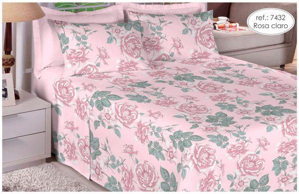 Jogo de cama solteiro 100% algodão Premium Plus estampado Rosa Claro com Detalhes Verdes 7432