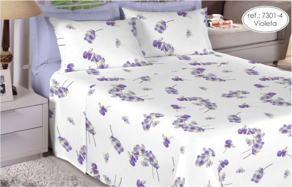 Jogo de cama solteiro 200 fios 100% algodão - estampado violeta 7301-4