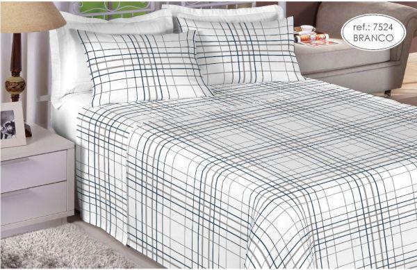 Jogo de cama solteiro 200 fios 100% algodão - estampado branco 7524
