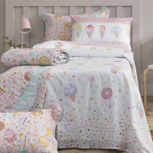 Jogo de cama solteiro infantil Royal Candy 100% algodão estampado - Santista