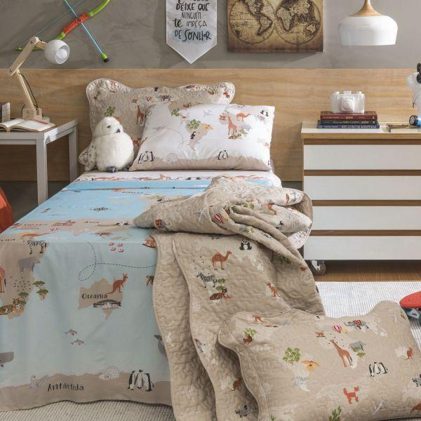 Jogo de cama solteiro infantil Royal Maps 100% algodão estampado - Santista