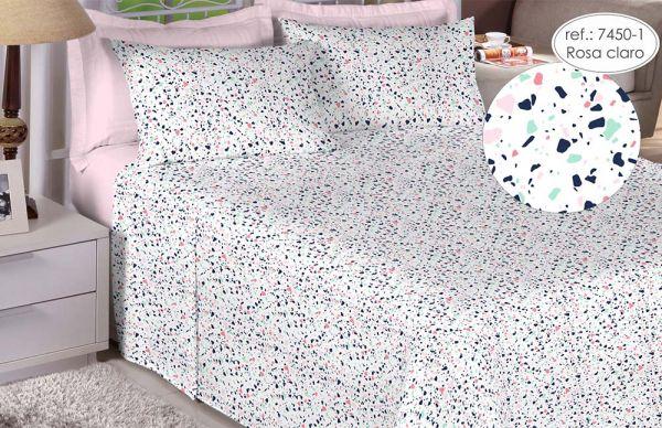 Jogo de cama solteiro percal 180 fios 100% algodão estampado - Rosa Claro 7450-1