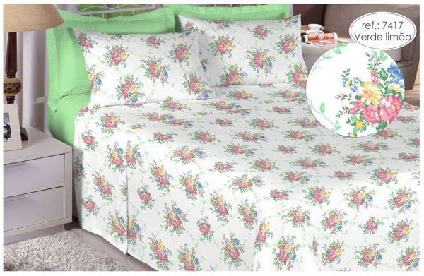 Jogo de cama solteiro percal 180 fios 100% algodão estampado - Verde Limão 7417