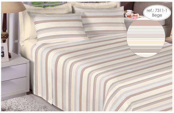 Jogo de cama solteiro Percal 200 fios - 100% algodão Premium - Bege 7311-1