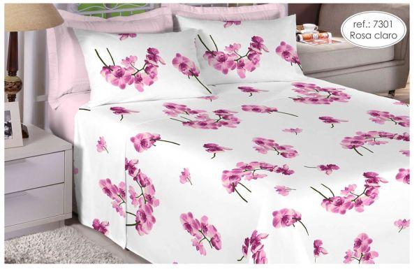 Jogo de cama solteiro Percal 200 fios - 100% algodão Premium - Rosa Claro 7301