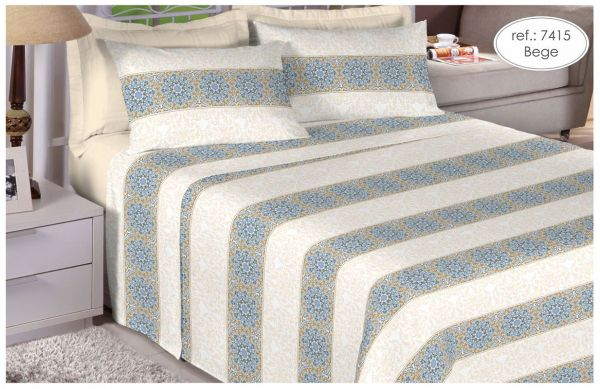 Jogo de cama solteiro Percal 200 fios - 100% algodão Premium - Bege 7415