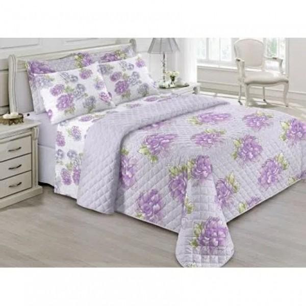 Jogo de cama solteiro Prata 150 Fios 100% algodão Agnes estampado Lilás  floral - Santista