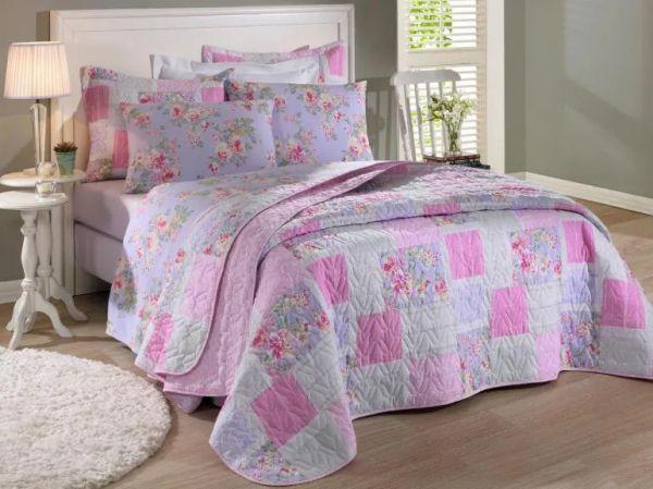 Jogo de cama solteiro Prata 150 Fios 100% algodão Jully 1 estampado rosas lilás - Santista