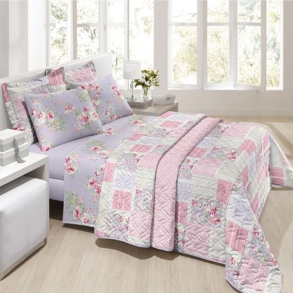 Jogo de cama solteiro Prata 150 Fios 100% algodão Jully estampado Lilás  floral - Santista