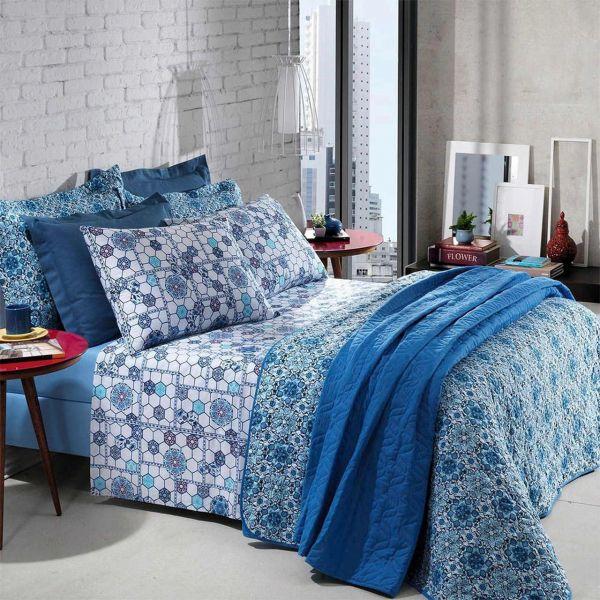 Jogo de cama Queen Prata 150 Fios 100% algodão Ludmila estampado Geométrico Floral - Santista