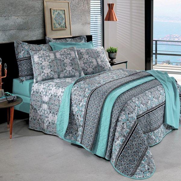 Jogo de cama solteiro Prata 150 Fios 100% algodão Maia estampado - Santista