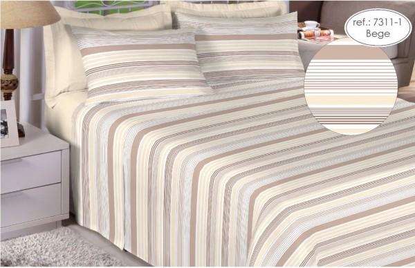 Jogo de cama solteiro Premium 200 fios 100% algodão 7311-1 Bege