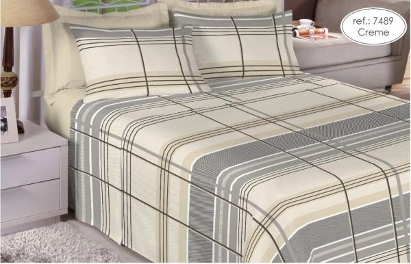 Jogo de cama solteiro Premium Linea 180 fios 100% algodão 7489 Creme