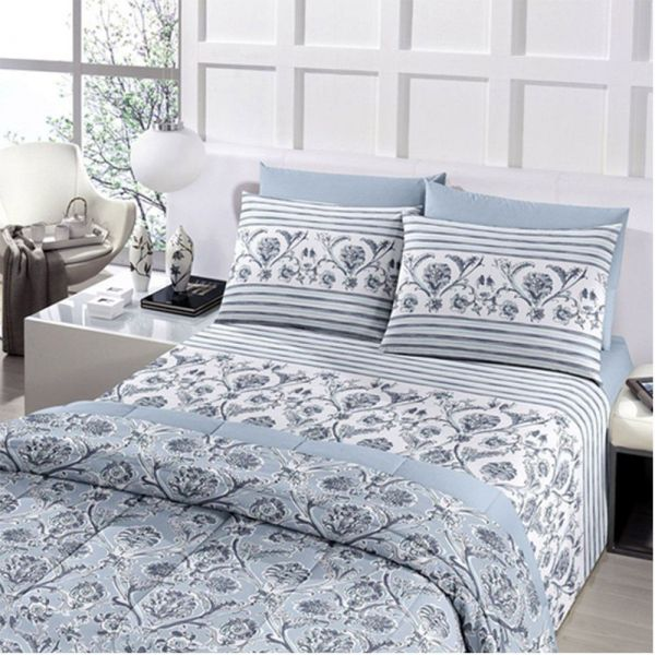 Jogo de cama solteiro Royal Asturias 100% algodão estampado  - Santista