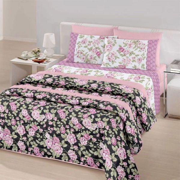 Jogo de cama solteiro Royal Cinthia 100% algodão estampado - Santista