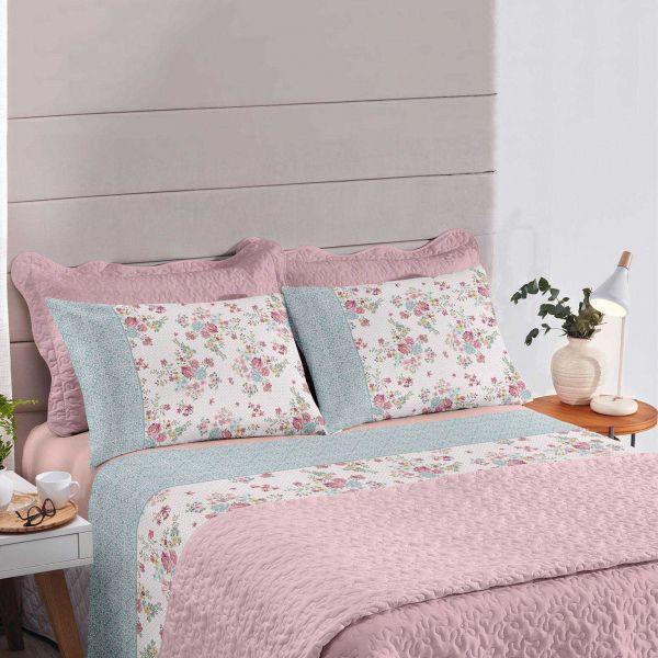Jogo de cama solteiro Royal Wendy 1 100% algodão estampado Floral - Santista