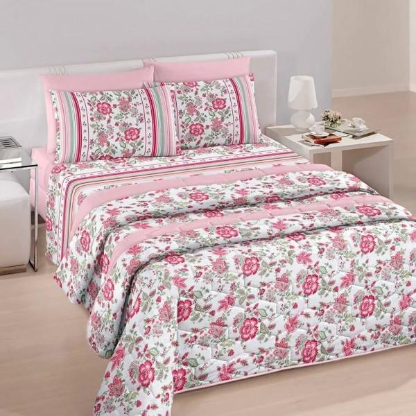Jogo de cama solteiro Royal Yara 100% algodão estampado rosa florido - Santista
