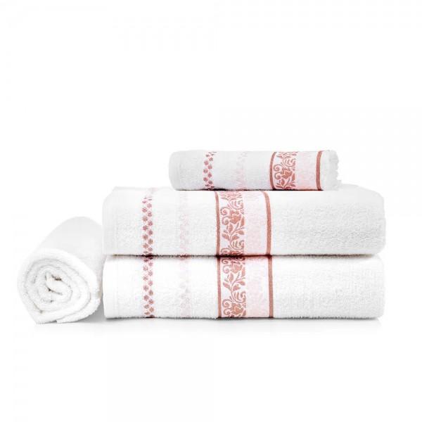 Jogo de Toalha de Banho 4 peças Clarissa Branco/rosa - Karsten